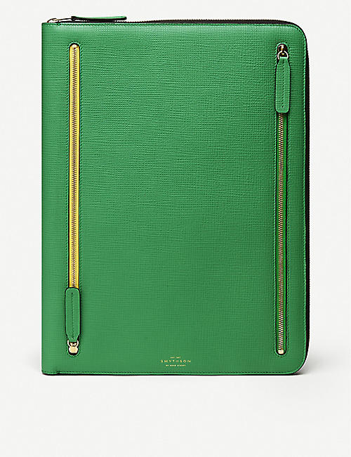 SMYTHSON Large contrast zip leather folio