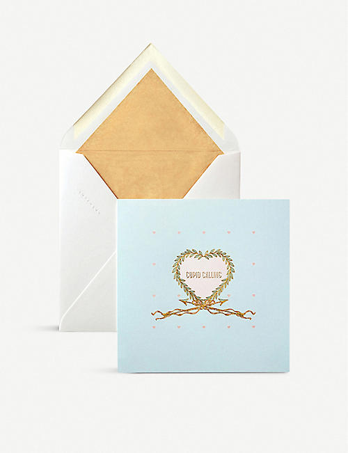 SMYTHSON Cupid Calling greetings card 15cm x 15cm