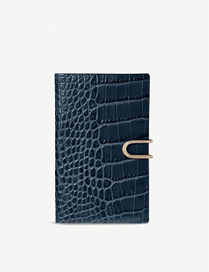 SMYTHSON Panama croc-embossed leather notebook 19cm x 14cm