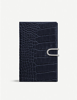 SMYTHSON: Panama croc-embossed leather notebook 14cm x 9cm