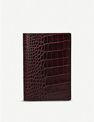SMYTHSON: Mara croc-embossed leather passport cover