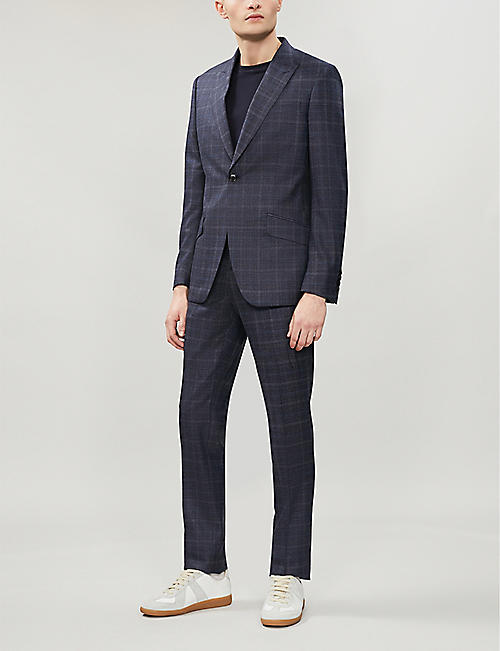 REISS Stanford checked slim-fit wool-blend suit