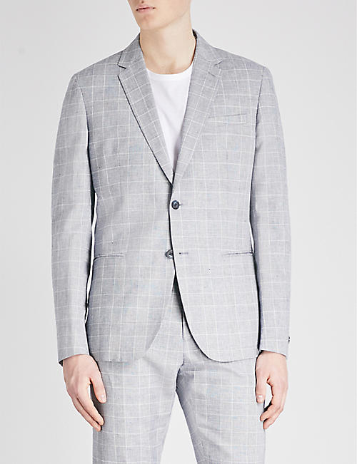 9c682d3ed REISS - Kray slim-fit checked cotton and linen-blend blazer ...