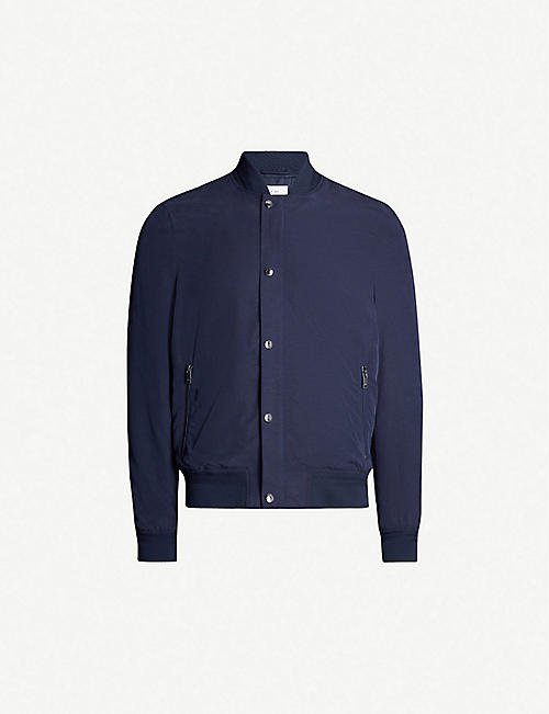 REISS Kane lyocell and linen-blend bomber jacket