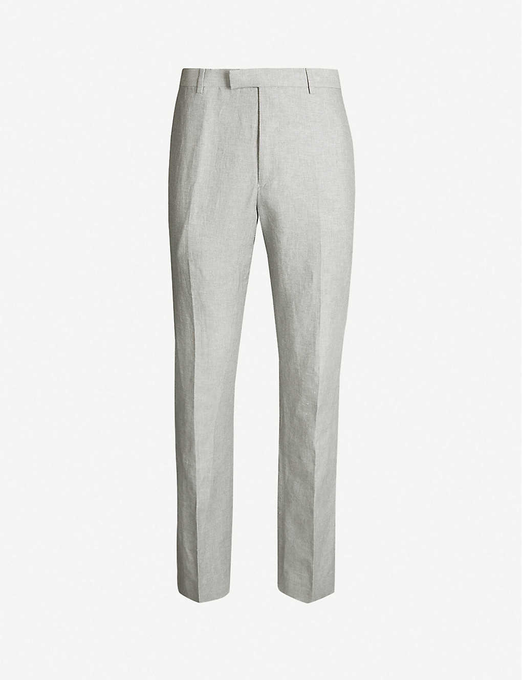 4fe574d41f8 Time slim-fit tapered cotton and linen-blend trousers - Light grey ...