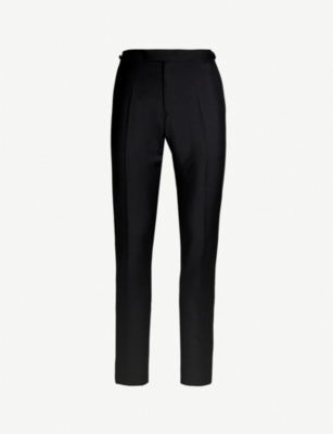 REISS Knightsbridge wool-mohair blend tuxedo trousers