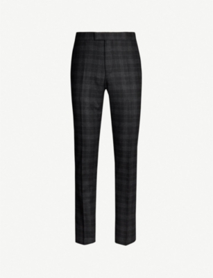 REISS Rodney checked slim-fit brushed-wool trousers
