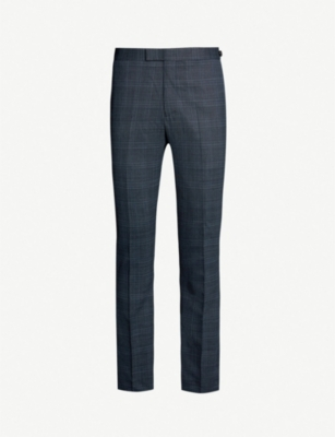 REISS Fresco checked slim-fit wool-blend suit trousers