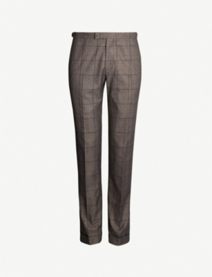 REISS Parker checked slim-fit woven trousers