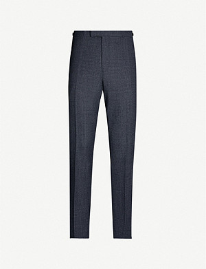 REISS Pavese checked wool-blend straight-leg trousers