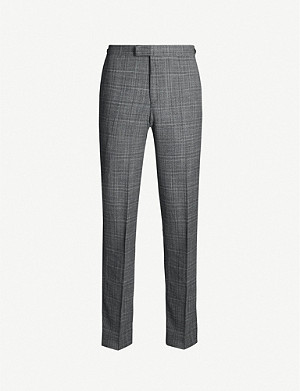 REISS Lafite checked wool-blend trousers