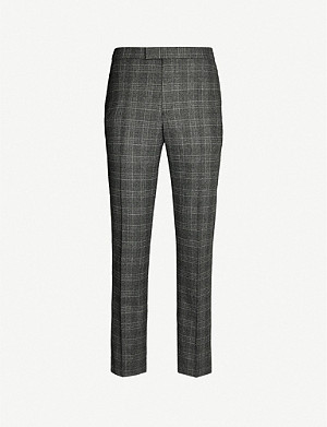 REISS Brand Prince of Wales checked wool-blend tapered trousers