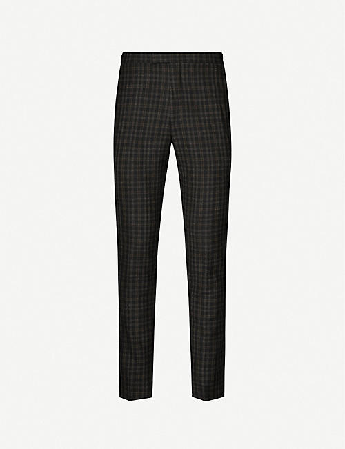 REISS Livesey checked slim-fit wool trousers