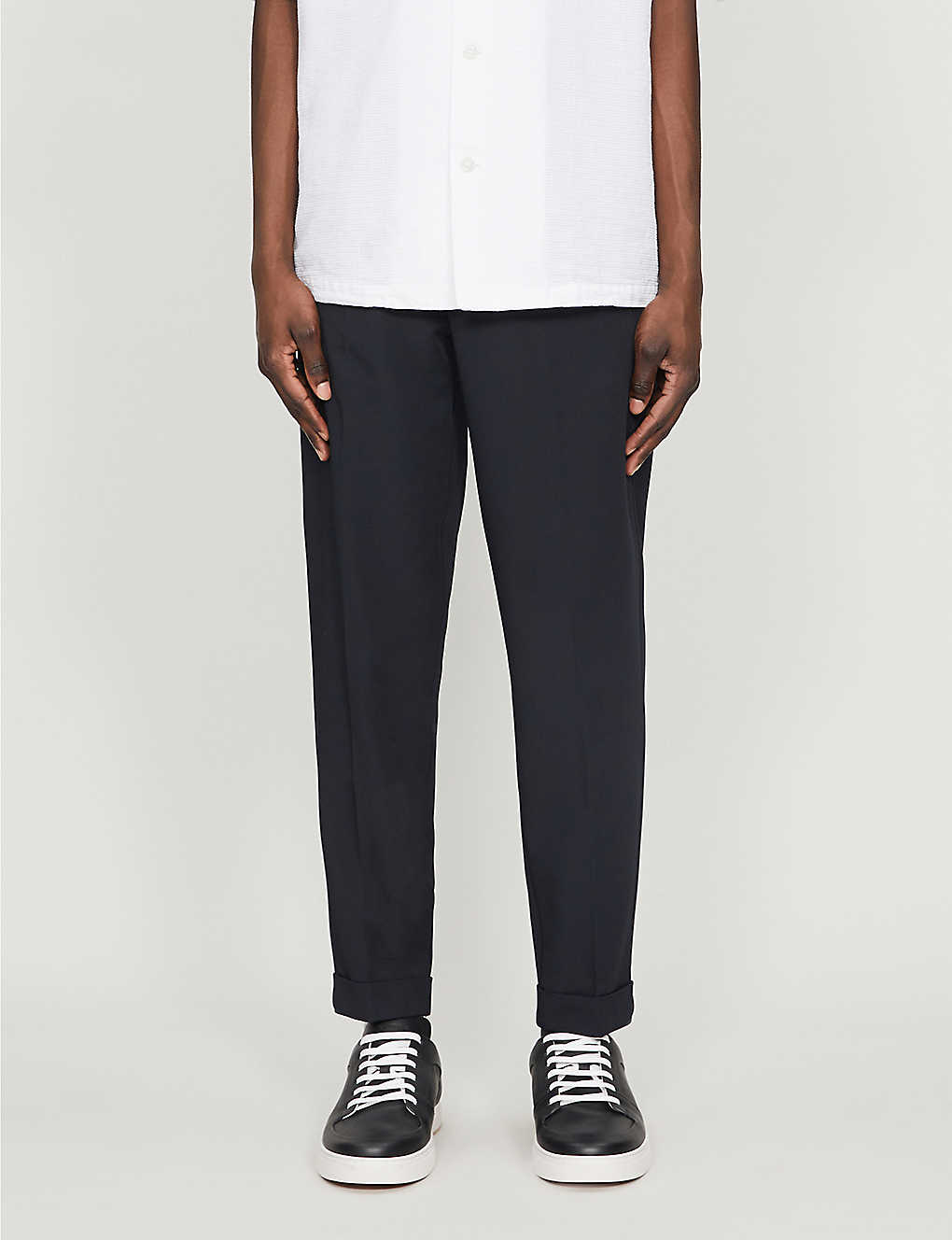 REISS: Japan drawstring slim-fit stretch-woven trousers
