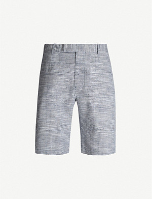 REISS Ment regular-fit check cotton-blend shorts