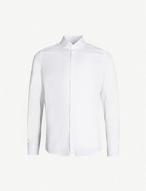 REISS Control slim-fit cotton-poplin shirt