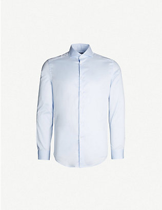 REISS: Storm slim-fit cotton-poplin shirt