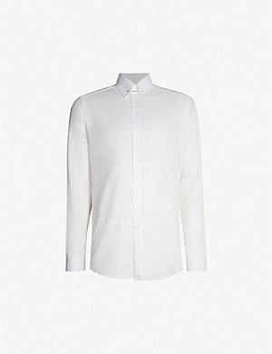 REISS Caldwell slim-fit cotton-twill collar bar shirt