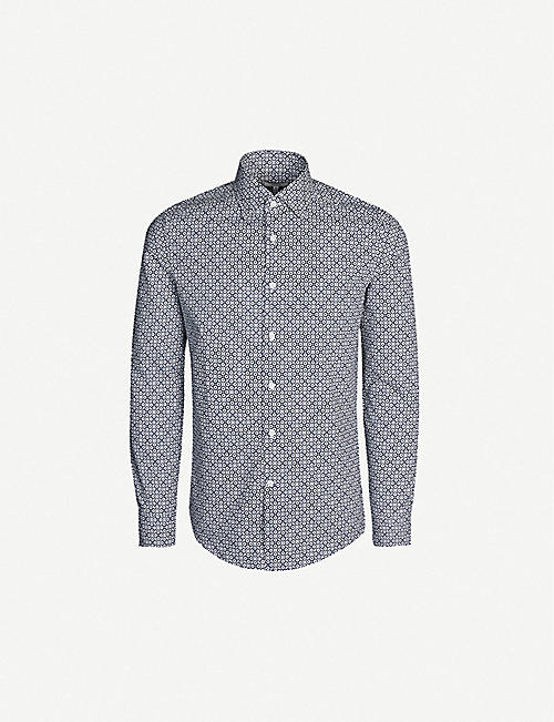 0ca41a93d3b0e REISS Blanca slim-fit geometric-print cotton shirt