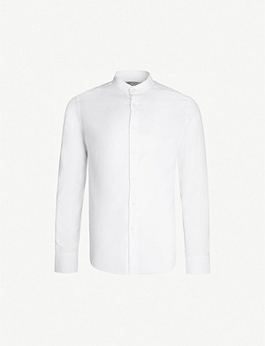 REISS Dunn slim-fit textured-cotton grandad shirt