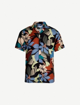 REISS Zeek relaxed-fit floral-print crepe shirt