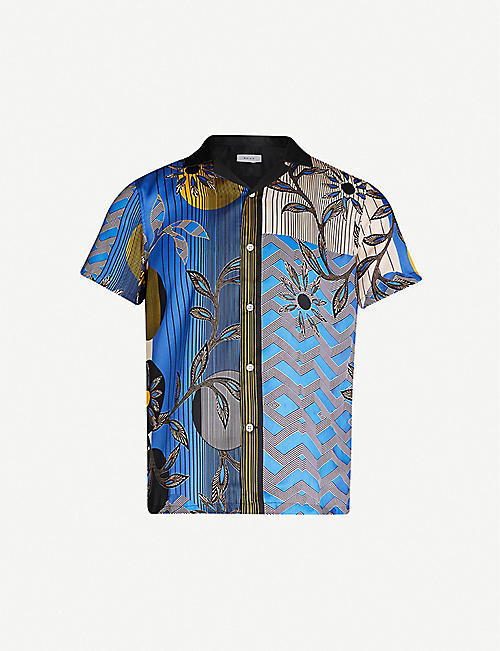 REISS Pusha geometric floral-print woven shirt