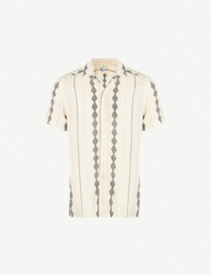 REISS Stevie diamond-pattern slim-fit woven shirt