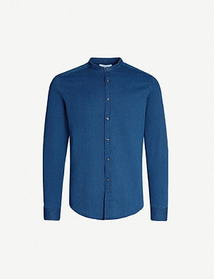 REISS Caffrey grandad collar cotton-piqué shirt