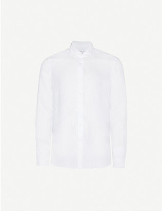 REISS: Ruban slim-fit linen shirt