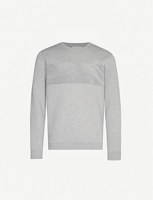 REISS Arty contrast-panel stretch-jersey sweatshirt