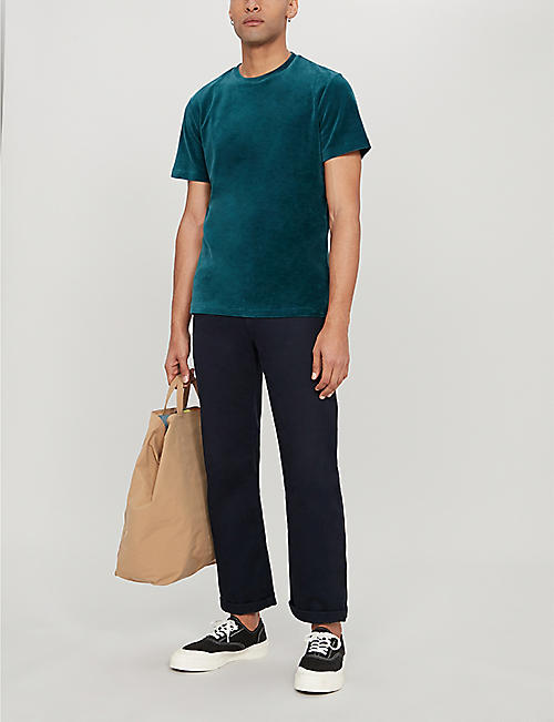 REISS Vincent velour T-shirt