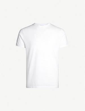 REISS Fords textured-stripe cotton-jersey T-shirt
