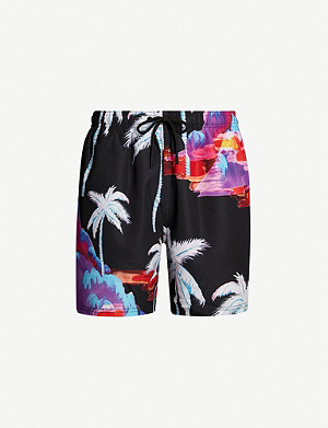REISS Paul palm tree-print swim shorts
