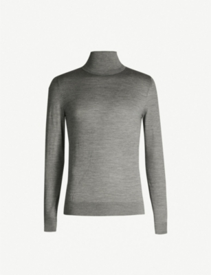 REISS Olive roll-neck wool jumper