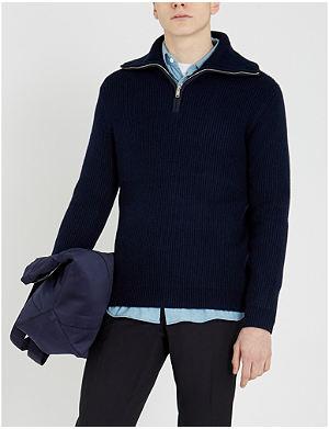 b7c890a3183a REISS - Jonathan funnel-neck zip-through jersey jumper
