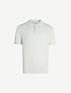 REISS Varsity short-sleeved cotton-knit polo