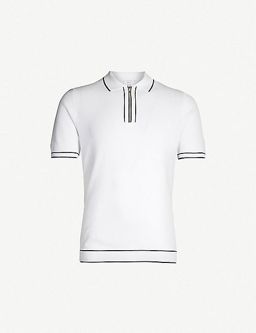 55429eeda3a44 REISS Lyle contrast trim zip-neck piqué polo shirt