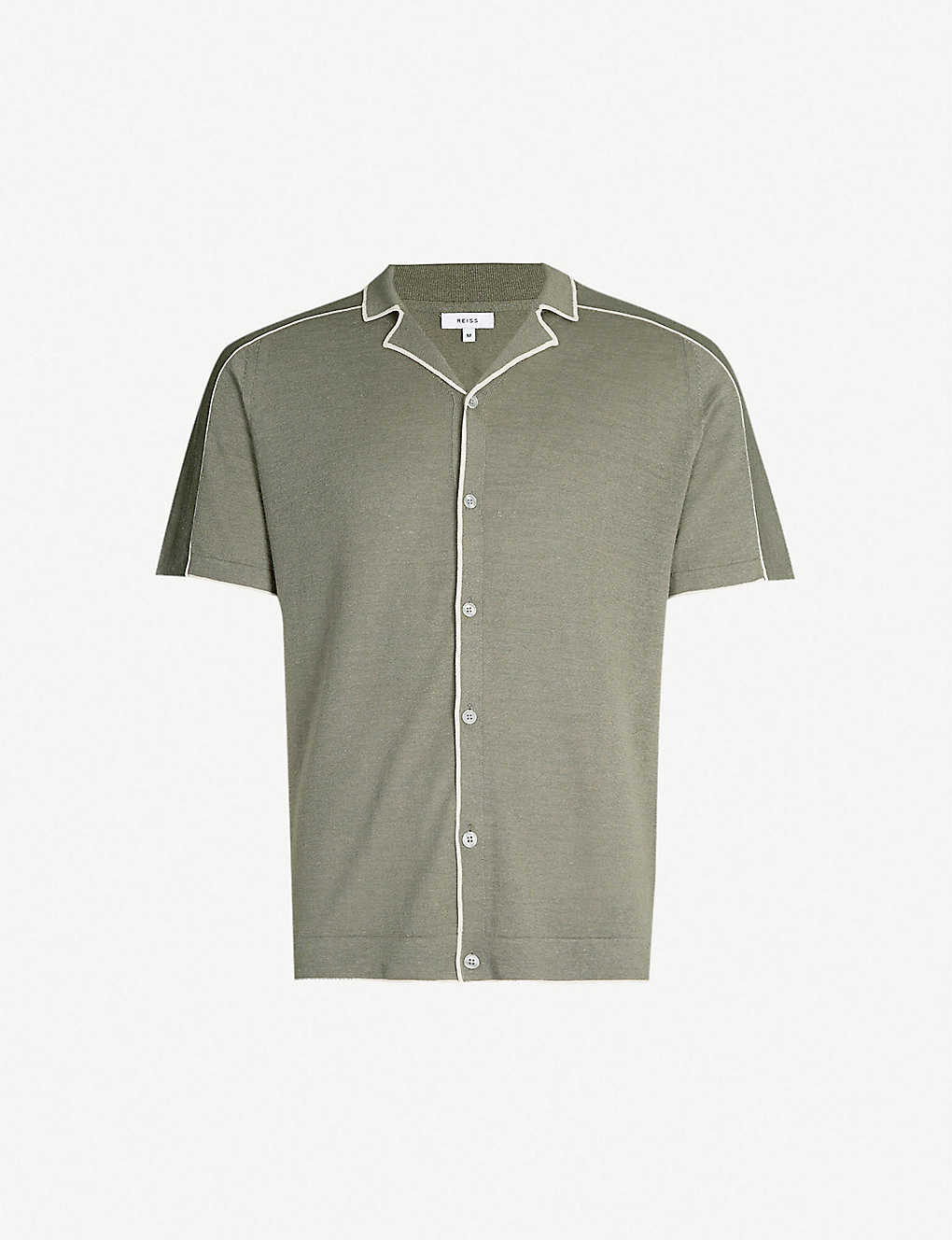 REISS: Horsey contrast trim linen-blend shirt