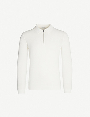 REISS Ripley zip-neck long-sleeved stretch-cotton polo shirt