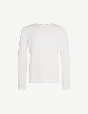 REISS Birch textured-stripe jersey sweatshirt