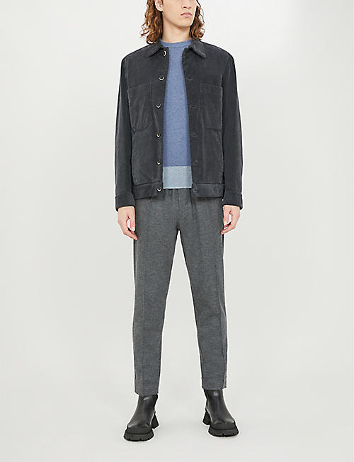 REISS Cassidy contrast-panel wool-and-cashmere blend jumper