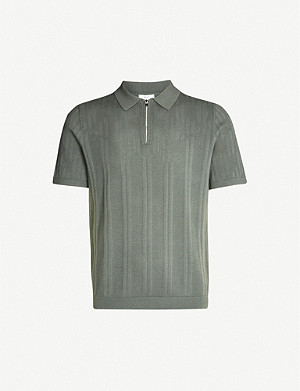 REISS Trent knitted cotton-blend polo shirt