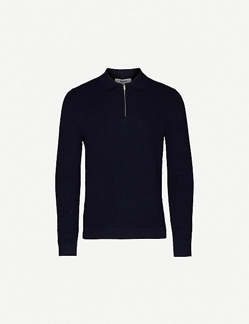 REISS Stevie ribbed-knit polo jumper