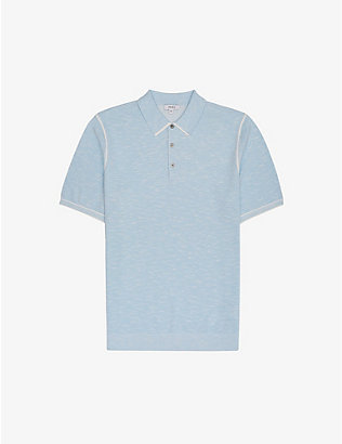 REISS: Pedro cotton-blend melange polo shirt