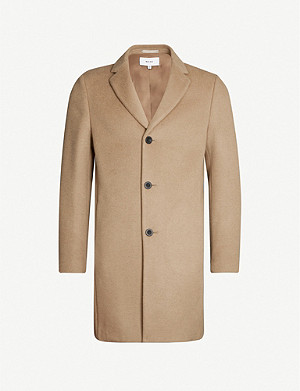 REISS Gable single-breasted wool overcoat