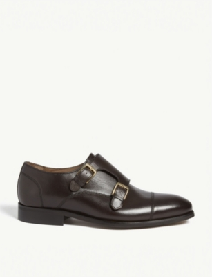 REISS Leicester leather double-monk shoes