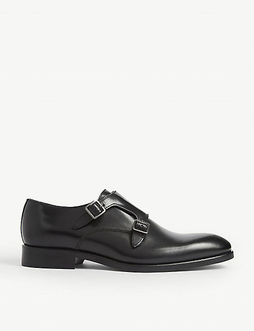 REISS Gelder leather double monk shoes