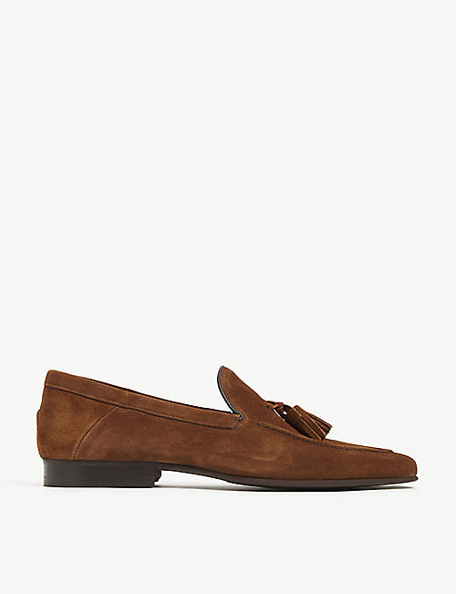 REISS: Larche tasselled suede loafers