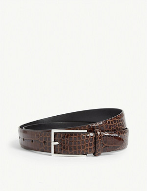 REISS Romi croc-embossed leather belt