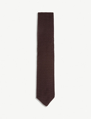 REISS Jackson knitted silk tie